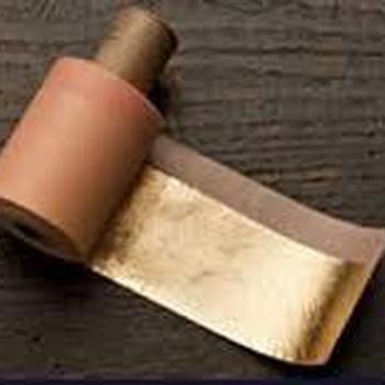 slagmetaal kleur 2 1/2 midden goud op rol van 50 m lengte en per mm breedte